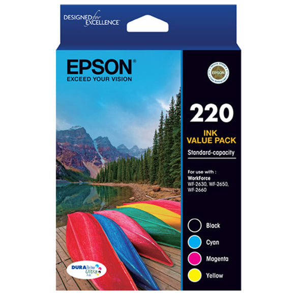 GENUINE Epson 220 4 Ink Cartridge Value Pack WF-2630 WF-2650 WF-2660 T293692