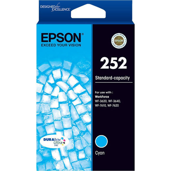 GENUINE Epson 252 Cyan Ink Cartridge WF-3620 WF-3640 WF-7610 WF-7620 T252292