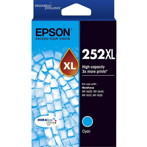 GENUINE Original Epson 252XL Cyan High Capacity Ink Cartridge Toner T253292
