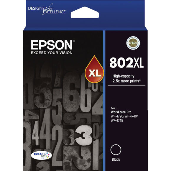 GENUINE Original Epson 802XL Black High Capacity Ink Cartridge Toner T356192