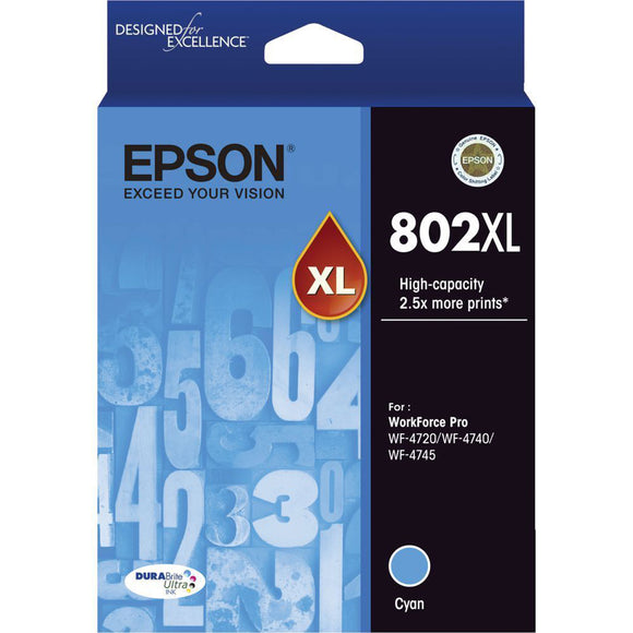 GENUINE Original Epson 802XL Cyan High Capacity Ink Cartridge Toner T356292