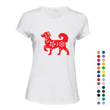 Chinese Red Silhouette Fortune Wealth Bitch Dog Ladies Women T Shirt Tee Top