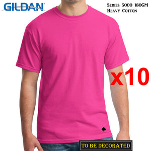 10 Packs Gildan T-SHIRT Basic Tee S - 5XL Small Big Men Heavy Cotton (Heliconia)