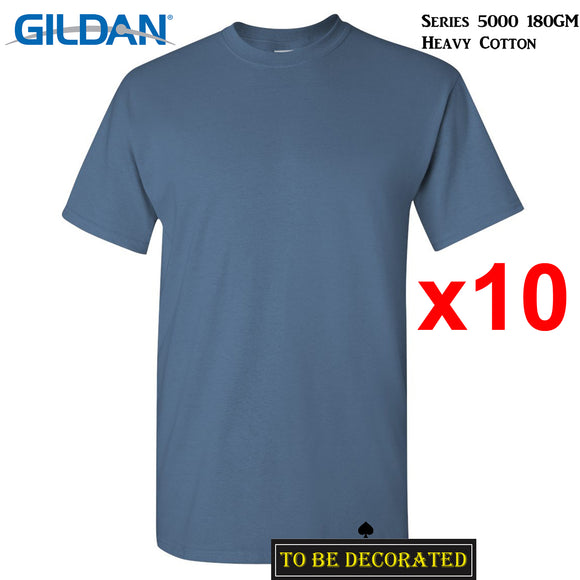 10 Packs Gildan T-SHIRT Basic Tee S - 5XL Small Big Men Heavy Cotton (Indigo Blue)