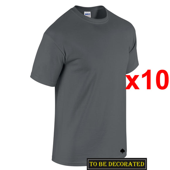 10 Packs Gildan T-SHIRT Basic Tee S - 5XL Small Big Men Heavy Cotton (Charcoal)