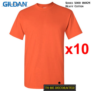 10 Packs Gildan T-SHIRT Basic Tee S - 5XL Small Big Men Heavy Cotton (Orange)