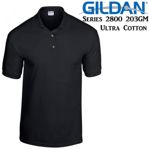 Gildan Jersey POLO Collar T-SHIRT Black tee S - XXL Ultra Cotton