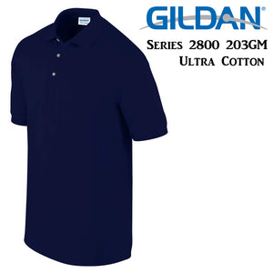 Gildan Jersey POLO Collar T-SHIRT Navy Blue tee S - XXL Ultra Cotton
