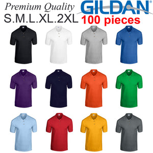 100 pieces Gildan blank plain Jersey POLO Collar T-Shirt Tee S-2XL Small  Big Men's Cotton