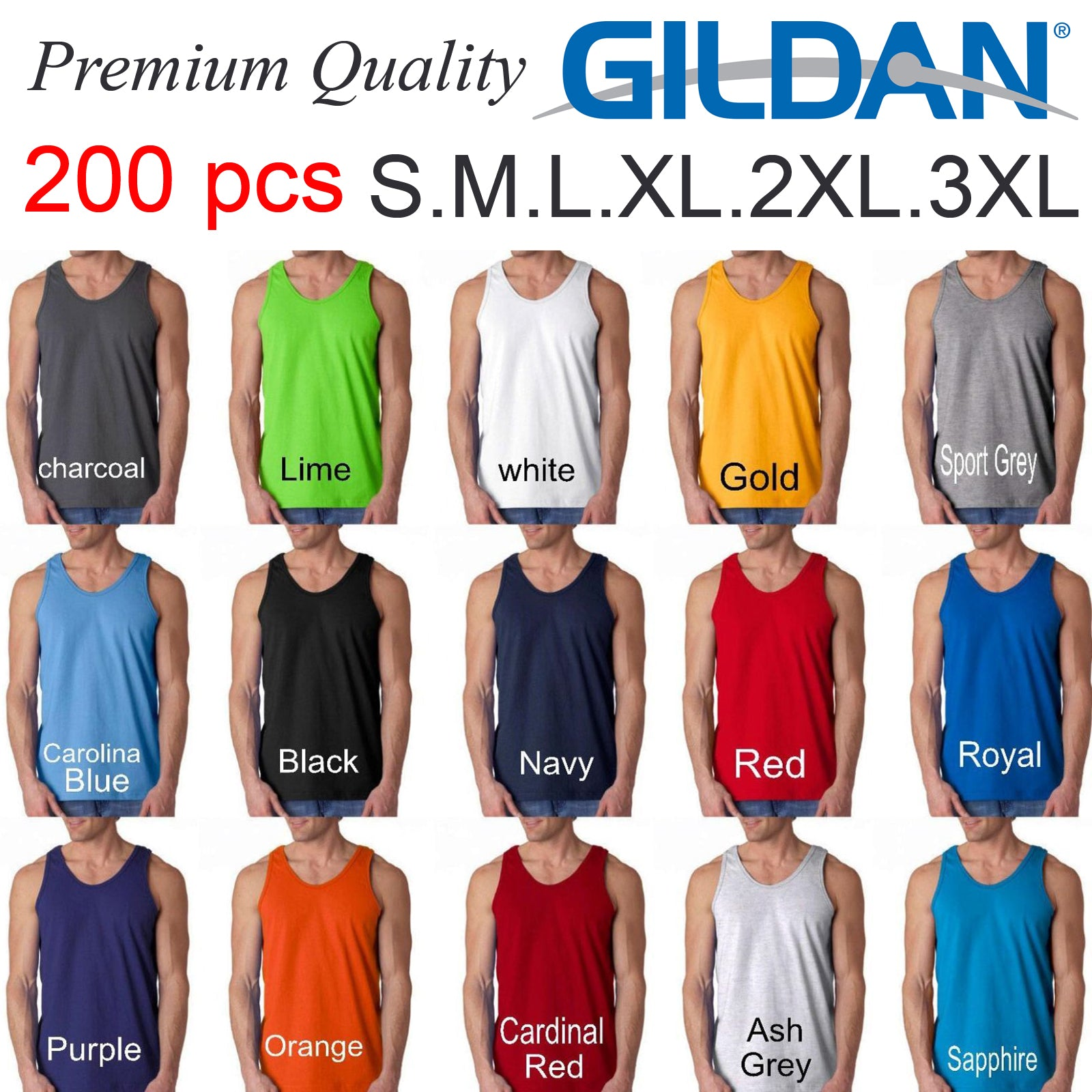 200 pieces Heavy Cotton Gildan blank plain tee sleeveless Shirt Tank Top  Singlet S M L XL 2XL XXL 3XL Men