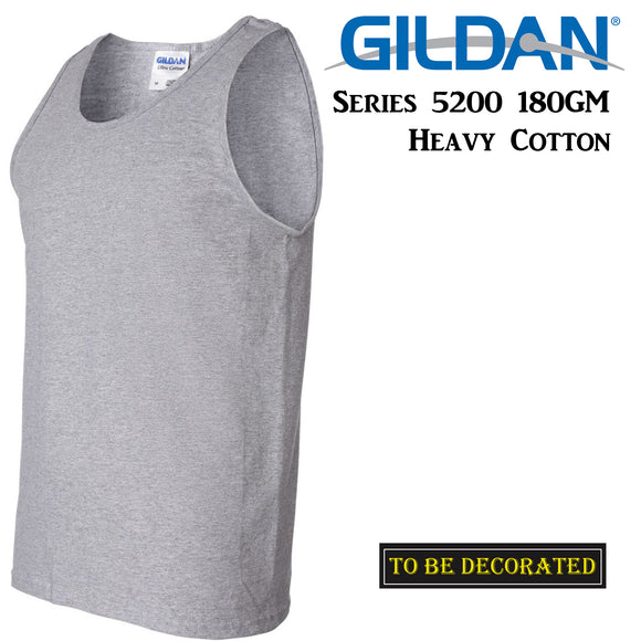 Gildan Sport Grey Tank Top Singlet Shirt S - 2XL Small Big Men's Heavy Cotton