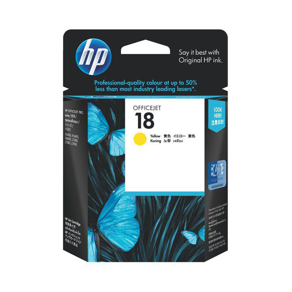 GENUINE Original HP 18 YELLOW Ink Cartridge Toner Officejet C4939A