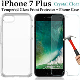 Apple iPhone 7 PLUS clear case cover and tempered glass front screen protector