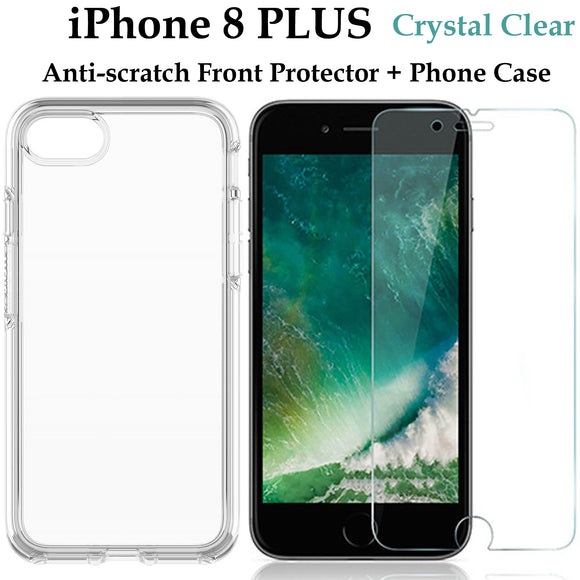Apple iPhone 8 PLUS TPU clear case cover and 4H anti-scratch front screen protector