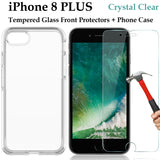 Apple iPhone 8 PLUS clear case cover and tempered glass front screen protector