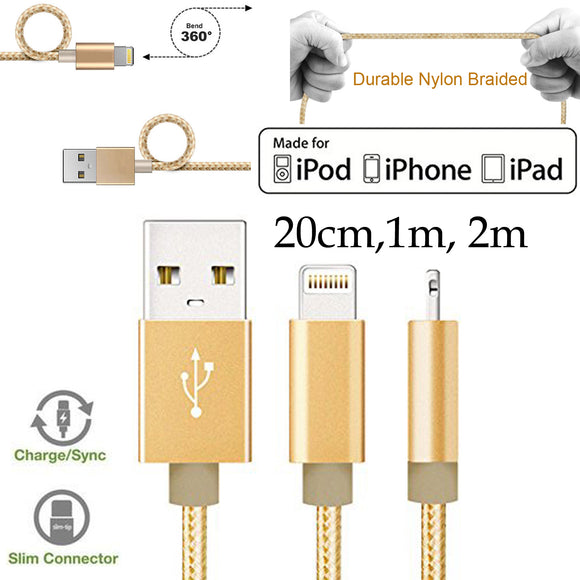 20cm 1m 2m Strong Nylon Braided Apple iPhone 5 6 7 8 X XS Max Xr PLUS 11 12 Pro Max Mini SE iPad Air Pro Lightning Fast data sync charger charging cable
