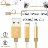 20cm 1m 2m Strong Nylon Braided Apple iPhone 5 6 7 8 X XS Max Xr PLUS 11 12 Pro Max Mini SE iPad Air Pro Lightning Fast Data Sync Charger Charging Cable Cord