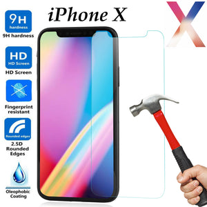 Tempered Glass 9H Guard screen protector for Apple iPhone X front + Back