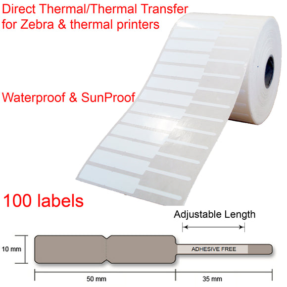 100 Jewellery key watch price tags labels roll 85x10mm thermal transfer printer