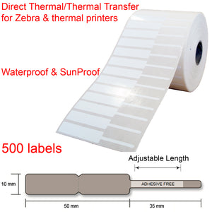 500 Jewellery key watch price tags labels roll 85x10mm thermal transfer printer