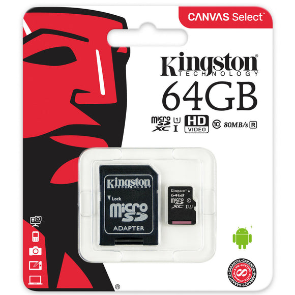 Kingston 64GB Micro SD microSDXC Class 10 UHS-1 80MB/s Memory Flash Card