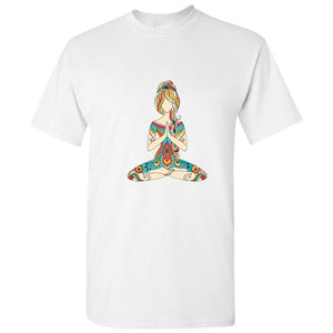Meditating Yoga Woman Girl Buddha Cartoon White S - 5XL Men T-Shirt Shirt Tee