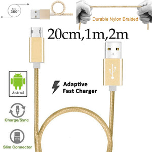 20cm 1m 2m Strong Nylon Braided Data Sync Transfer Charger Charging Micro USB Cable Cord for Android Phone