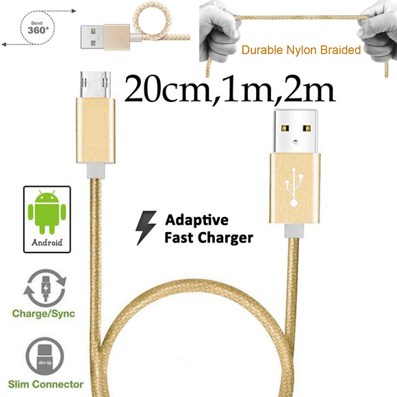 20cm 1m 2m Strong Nylon Braided Lightning fast data sync transfer charger charging micro usb cable Android