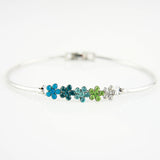14k white Gold plated beaded flowers bangle bracelet with Swarovski elements