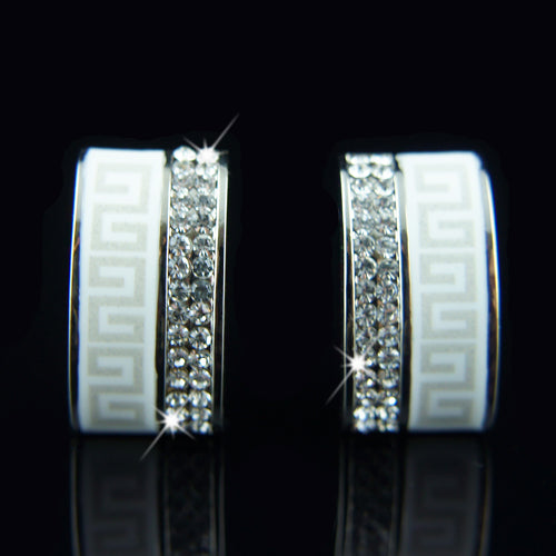 18k white Gold plated with Swarovski crystals huggie earrings