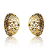18k Gold GF leopard with Swarovski crystals enamel cameo earrings