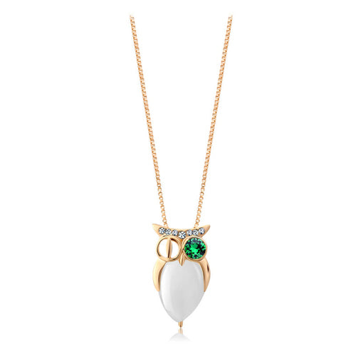 18k Gold plated owl with Swarovski crystals pendant necklace