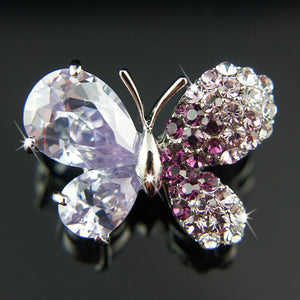 18k white Gold GF wih Swarovski crystals Diamond cut butterfly brooch pin