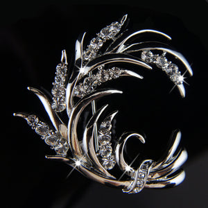 14k white Gold plated leaf with Swarovski crystals brooch pin