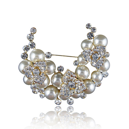 14k Gold GF pearls solid brooch pin with Swarovski elements crystals