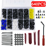 640pcs Car Body Panel Trim Clips Retainer Bumper Rivets Screw Push Fastener Kit