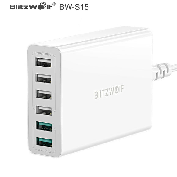 BlitzWolf BW-S15 60W 6 Port USB Fast Quick Charge QC3.0 Wall Charger Adapter