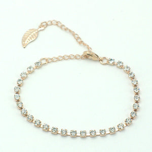 14k Rose Gold plated with Swarovski crystals leaf bangle bracelet