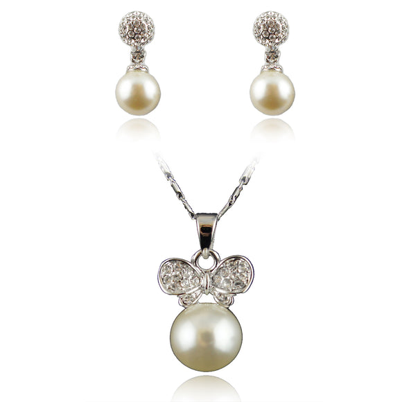 Sets 14k white Gold plated pearls earrings pendant necklace with Swarovski crystals