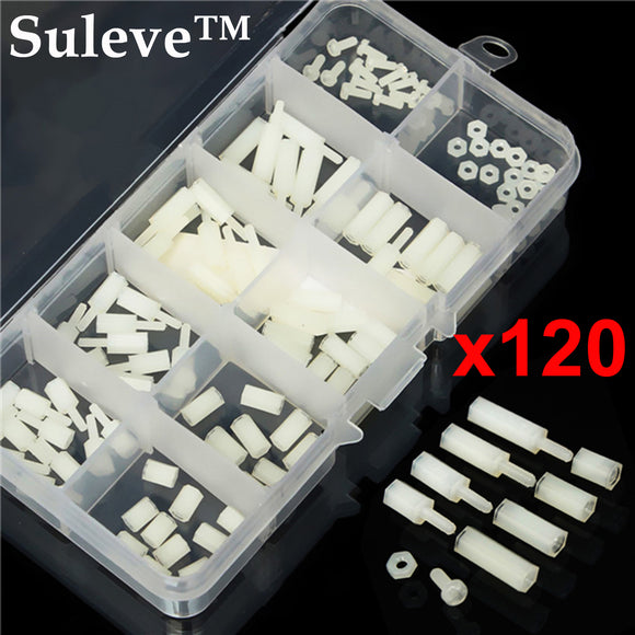 120pcs M2 Male-Female Spacer Nylon White Hex Screw Nut Stand-off PCB Assortment Kit M2NH1