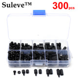 x300 Suleve M3 Male Female Spacer Nylon Black Hex Screw Nut Stand off PCB Assortment Kit M3NH1