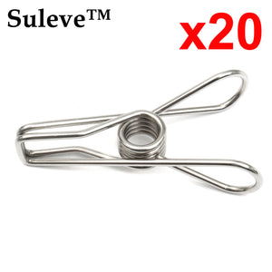 x20 Stainless Steel Clothes Washing Line Pegs Metal Paper Photo Clips Hanger Pin