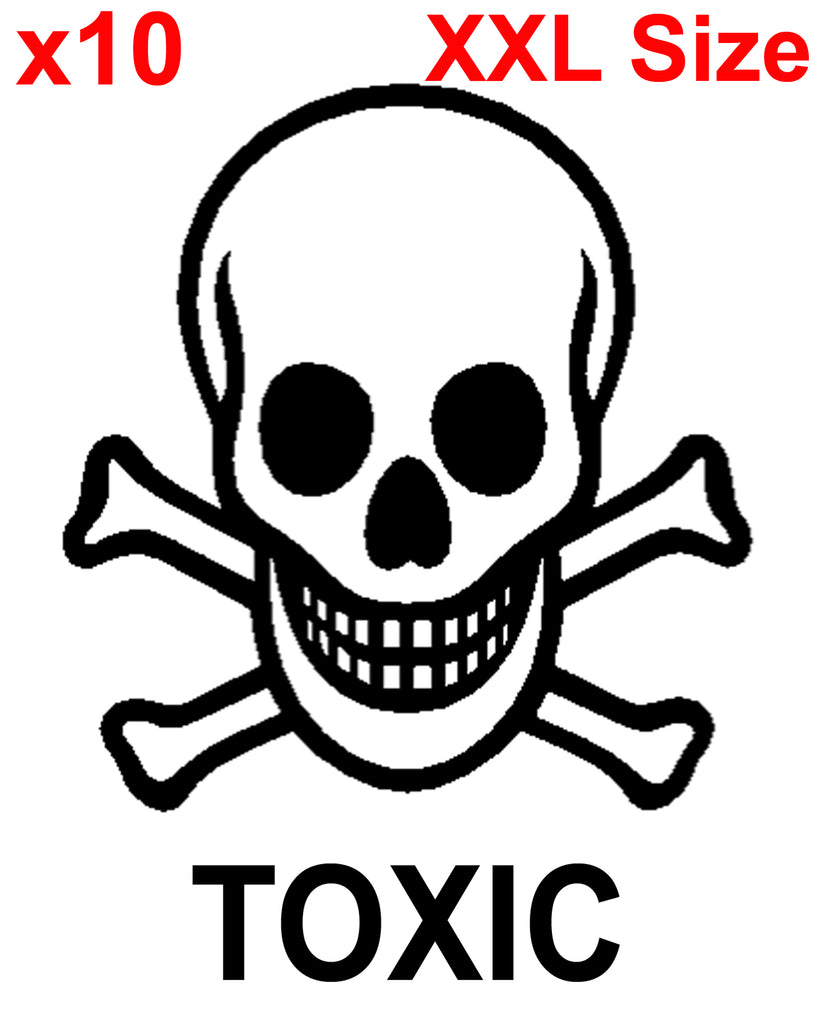 XXL TOXIC SKELETON SKULL shipping label adhesive warning
