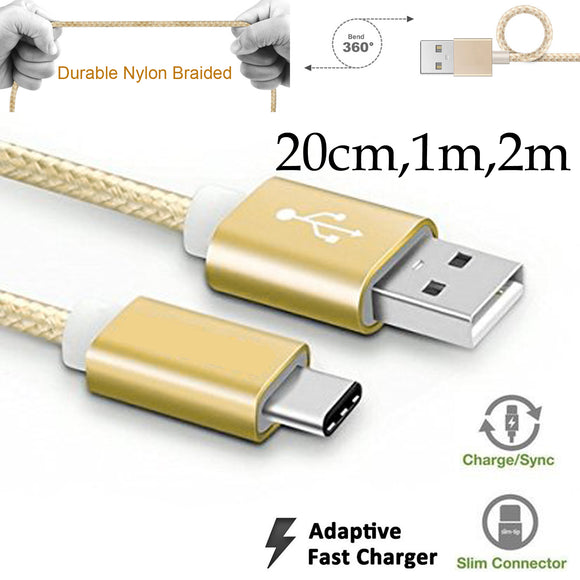 20cm 1m 2m Type-C Strong Nylon Braided Lightning fast data sync transfer charger charging usb cable
