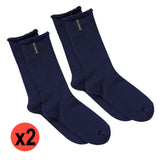 Holeproof Explorer Original Mens Crew Above Ankle Thick Work Winter Wool Socks Bulk NAV Navy SYNX2N