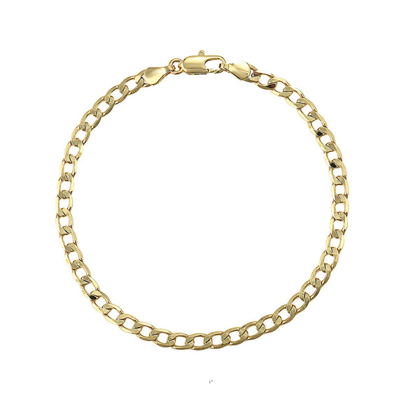 18k Gold F 26cm 10'' Bangle Bracelet 4mm Solid Curb Link Chain AUS MADE