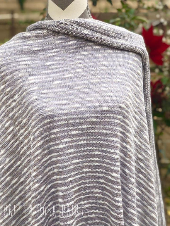 Grey/Off White/ Gold Stripes Sparkle Sweater Knit