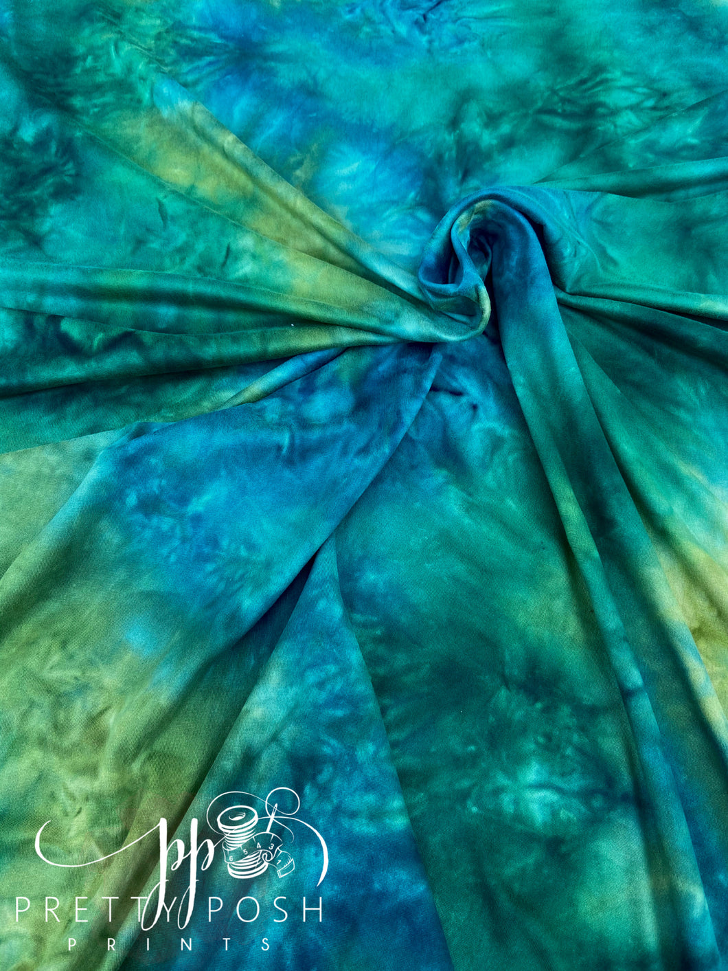 Rainforest Waterfalls Tie Dye Brushed Poly Spandex