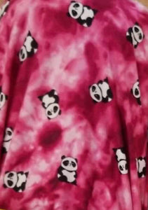 Pandas on Fuchsia Tie Dye Brushed Poly Spandex