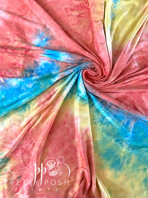 Tropical Dreamsicle Tie Dye Brushed Poly Spandex